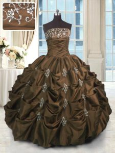 Modest Pick Ups Strapless Sleeveless Lace Up Sweet 16 Dresses Chocolate Taffeta