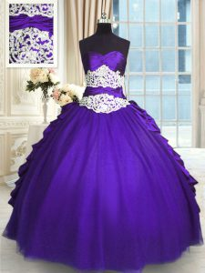 Purple Lace Up Ball Gown Prom Dress Beading and Lace and Appliques and Ruching and Pick Ups Sleeveless Floor Length