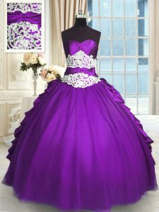 Sleeveless Lace Up Floor Length Beading and Lace and Ruching and Pick Ups Quinceanera Dresses
