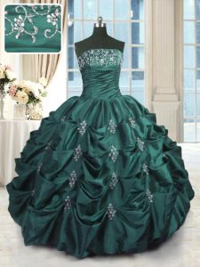 Custom Designed Peacock Green Lace Up Strapless Beading and Appliques and Embroidery and Pick Ups Quinceanera Dresses Taffeta Sleeveless