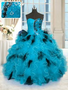 Beading and Ruffles Quince Ball Gowns Blue And Black Lace Up Sleeveless Floor Length
