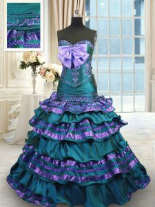 Glittering Sweetheart Sleeveless Quinceanera Gowns Sweep Train Appliques and Ruffled Layers and Bowknot Peacock Green Taffeta