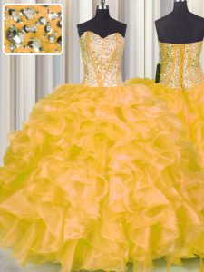Gold Organza Lace Up Ball Gown Prom Dress Sleeveless Floor Length Beading and Ruffles