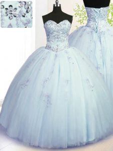Latest Light Blue Sleeveless Tulle Lace Up Ball Gown Prom Dress for Military Ball and Sweet 16 and Quinceanera