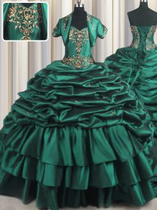 Peacock Green Ball Gowns Sweetheart Sleeveless Taffeta With Brush Train Lace Up Beading and Appliques and Pick Ups Sweet 16 Dress