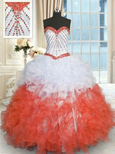 White And Red Lace Up Sweetheart Beading and Ruffles Quince Ball Gowns Organza Sleeveless