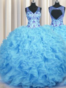 Beauteous Baby Blue Ball Gowns V-neck Sleeveless Organza Floor Length Zipper Beading and Appliques and Ruffles Sweet 16 Quinceanera Dress