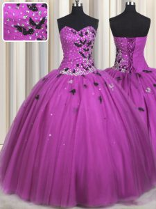 Hot Sale Fuchsia Ball Gowns Beading and Appliques 15th Birthday Dress Lace Up Tulle Sleeveless Floor Length