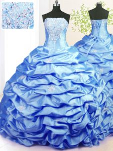 Affordable Beading and Pick Ups Sweet 16 Quinceanera Dress Baby Blue Lace Up Sleeveless With Train Sweep Train