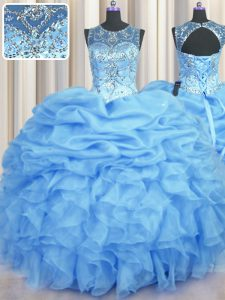 See Through Sleeveless Beading and Ruffles and Pick Ups Lace Up Ball Gown Prom Dress