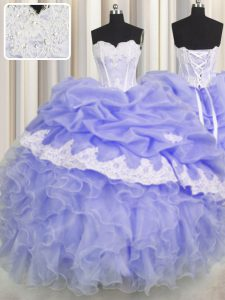 Pick Ups Ball Gowns 15th Birthday Dress Lavender Sweetheart Organza Sleeveless Floor Length Lace Up