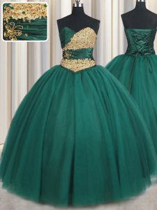 Vintage Floor Length Peacock Green Quinceanera Gowns Sweetheart Sleeveless Lace Up