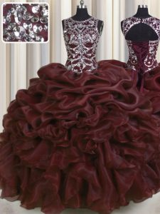 See Through Floor Length Burgundy Sweet 16 Dress Scoop Sleeveless Lace Up
