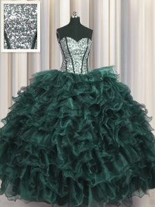 Visible Boning Sleeveless Lace Up Floor Length Ruffles and Sequins 15th Birthday Dress