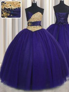 Top Selling Royal Blue Tulle Lace Up Sweet 16 Dress Sleeveless Floor Length Beading and Appliques