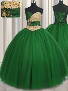 Sweetheart Sleeveless Tulle 15th Birthday Dress Beading and Appliques Lace Up