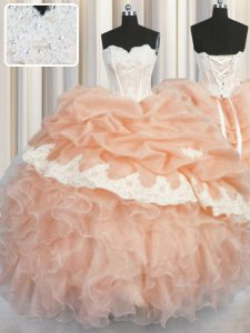 Designer Organza Sleeveless Floor Length Sweet 16 Quinceanera Dress and Appliques and Ruffles and Pick Ups