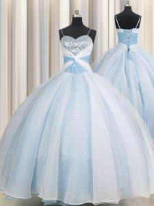 Spaghetti Straps Sleeveless Organza Floor Length Lace Up Quinceanera Gown in Light Blue with Beading and Ruching