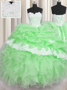 Lace Up Sweetheart Beading and Appliques and Ruffles and Pick Ups Quinceanera Gown Organza Sleeveless
