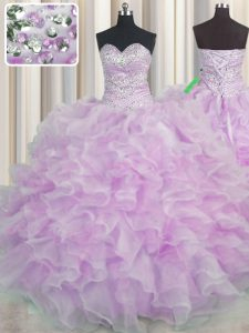 Ball Gowns Quince Ball Gowns Lilac Sweetheart Organza Sleeveless Floor Length Lace Up