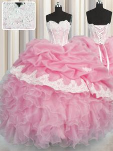 Low Price Pick Ups Rose Pink Sleeveless Organza Lace Up Quinceanera Dress for Military Ball and Sweet 16 and Quinceanera