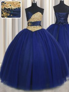 Sweetheart Sleeveless Lace Up Sweet 16 Quinceanera Dress Navy Blue Tulle