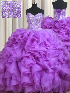 Pretty Sweetheart Sleeveless Organza 15 Quinceanera Dress Beading and Ruffles Sweep Train Lace Up