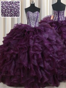 Modern Sleeveless Organza Floor Length Lace Up Quinceanera Dress in Dark Purple with Beading and Ruffles