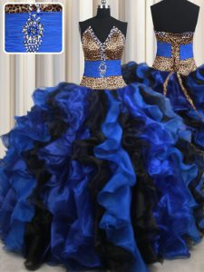 Blue And Black Sleeveless Organza Lace Up Sweet 16 Quinceanera Dress for Military Ball and Sweet 16 and Quinceanera