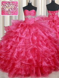 Sleeveless Organza Floor Length Lace Up Vestidos de Quinceanera in Coral Red with Ruffled Layers