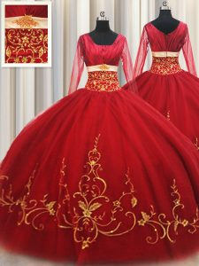 Glamorous Square Long Sleeves Tulle 15th Birthday Dress Beading and Embroidery Zipper