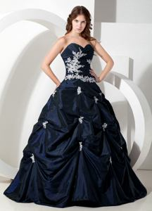 Navy Blue Sweetheart A-line Taffeta Appliques Sweet 15 Dresses in Marlborough