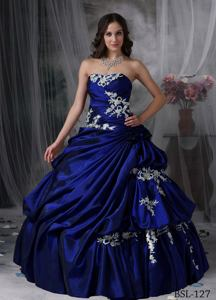 Royal Blue Strapless Taffeta Appliques Dress For Quinceanera in Marblehead