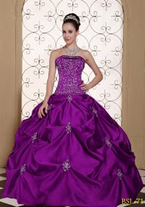 Embroidery Taffeta Strapless Quinceanera Dress with Pick-ups in Hyannis MA