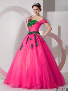 Modest Princess Off The Shoulder Organza Appliques Quinceanera Dress Hot Pink