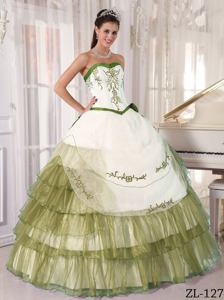 Sweetheart Satin and Organza Embroidery Quinceanera Dress in White and Olive
