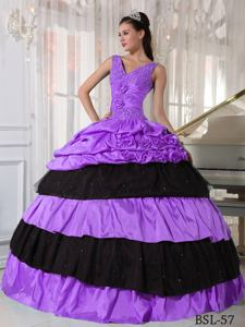 Ball Gown V-neck Purple and Black Taffeta Beading Sweet 15 Dresses in Brookline