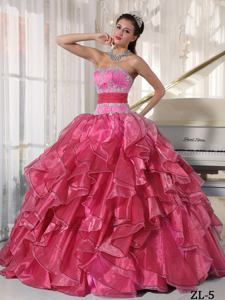 Strapless Ball Gown Organza Appliques Quinceanera Dress Hot Pink in Brockton