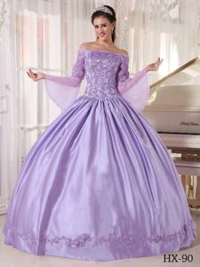 Lavender Off The Shoulder Appliques Quinceanera Dress with Long Sleeves