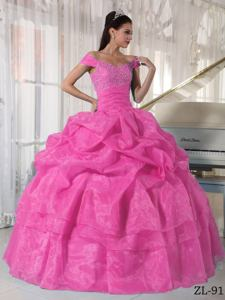 2014 Rose Pink Off The Shoulder Sweet 15 Dresses with Appliques in Braintree