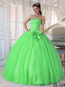 Sweetheart Tulle with Beading and Bowknot Quinceanera Dress in Spring Green