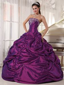 Purple Ball Gown Strapless Taffeta Sweet 15 Dresses with Embroidery and Pick-ups