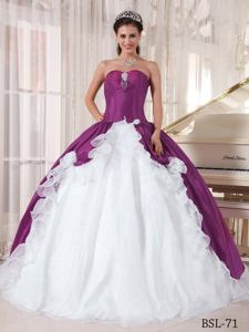 Purple and White Sweetheart Organza and Taffeta Beading Quinceanera Dress