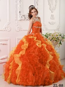 2014 Orange Red Sweetheart Organza Appliques and Beading Quinceanera Dress