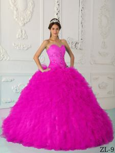 Hot Pink Sweetheart Beading Quinceanera Dress with Ruffles in Waldorf MD