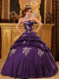 Purple Sweetheart Taffeta Beading and Appliques Quinceanera Dress in Towson