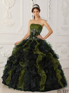 Cheap Olive and Black Strapless Taffeta and Organza Beading Quinceanera Dress