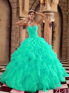 Turquoise Ball Gown Sweetheart Ruffles Organza Quinceanera Dress with Beading