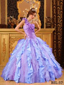 Multi-Color One Shoulder Beading and Ruffles Quinceanera Dress in Potomac