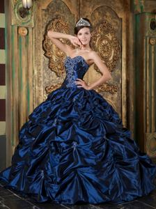 Navy Blue Ball Gown Sweetheart Picks-up Taffeta Quinceanera Dress in Hagerstown